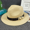 Summer Hot sell Full Rim pearl bow beach hat Sun hat outdoors hat