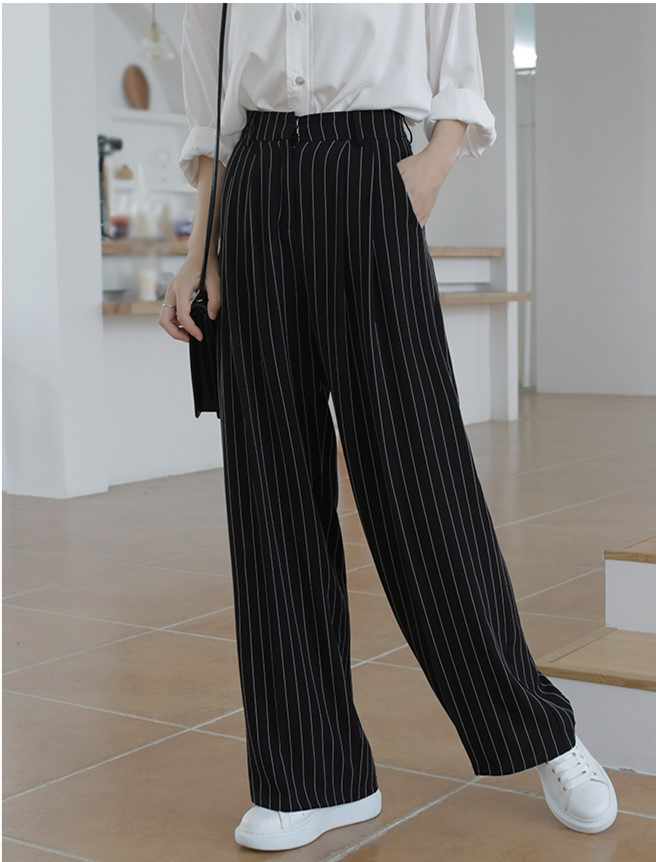 2019 High Quality Autumn Women Striped   Wide     Leg     Pants   Black Office Lady Chic Dress   Pant   Female Loose Straight Trouser Basic