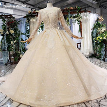 HTL627 luxury wedding dresses long sleeve o-neck heavy handmake bead wedding gowns 2019 keyhole back vestido de novia con manga(China)