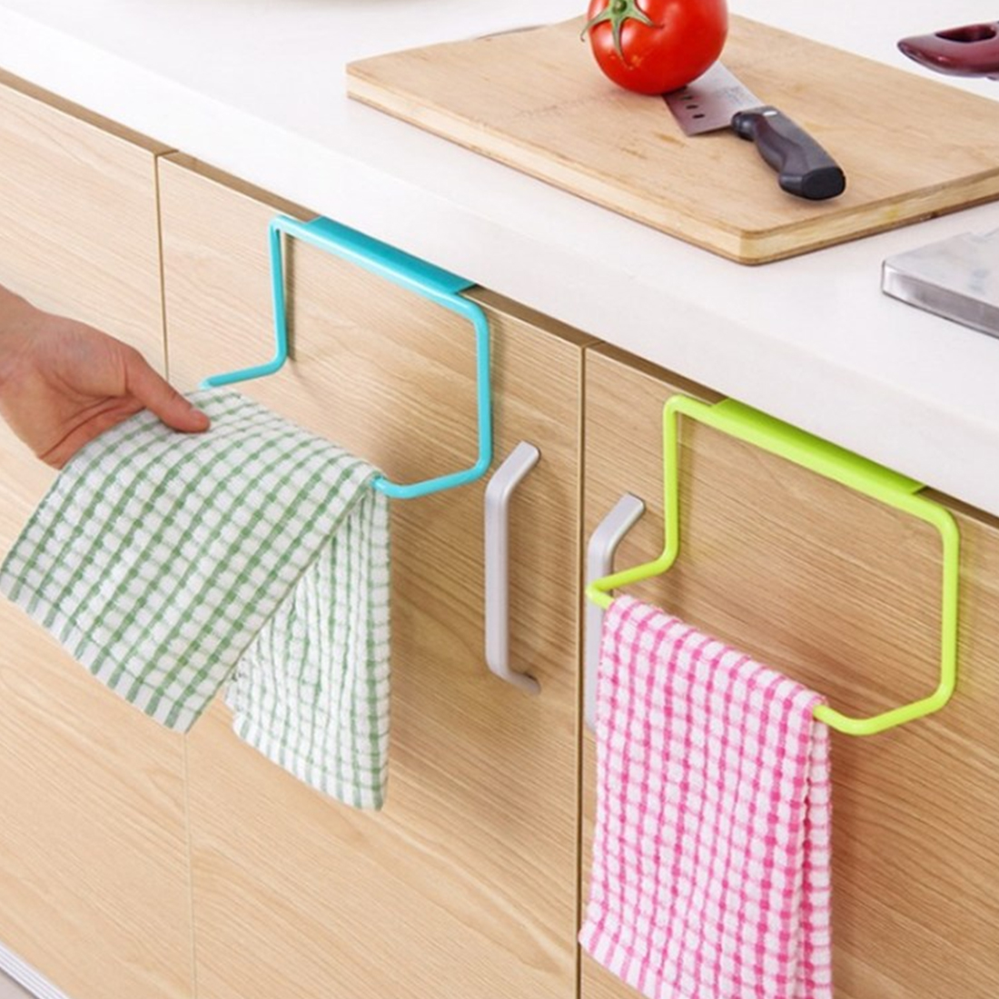 Hot 1pc Convenient Towel Rack Hanging Holder Organizer Bathroom Kitchen Cabinet Cupboard Hanger 19*9*6cm
