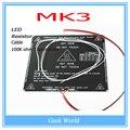 RepRap PCB heatbed MK3 + LED + Resistor + Cabo + 100 K ohm Termistores De Alumínio aquecida cama diâmetro como MK2B