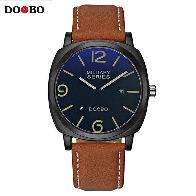 Мужские повседневные часы DOOBO, кожаные водонепроницаемые кварцевые часы в стиле милитари, спортивные армейские наручные часы