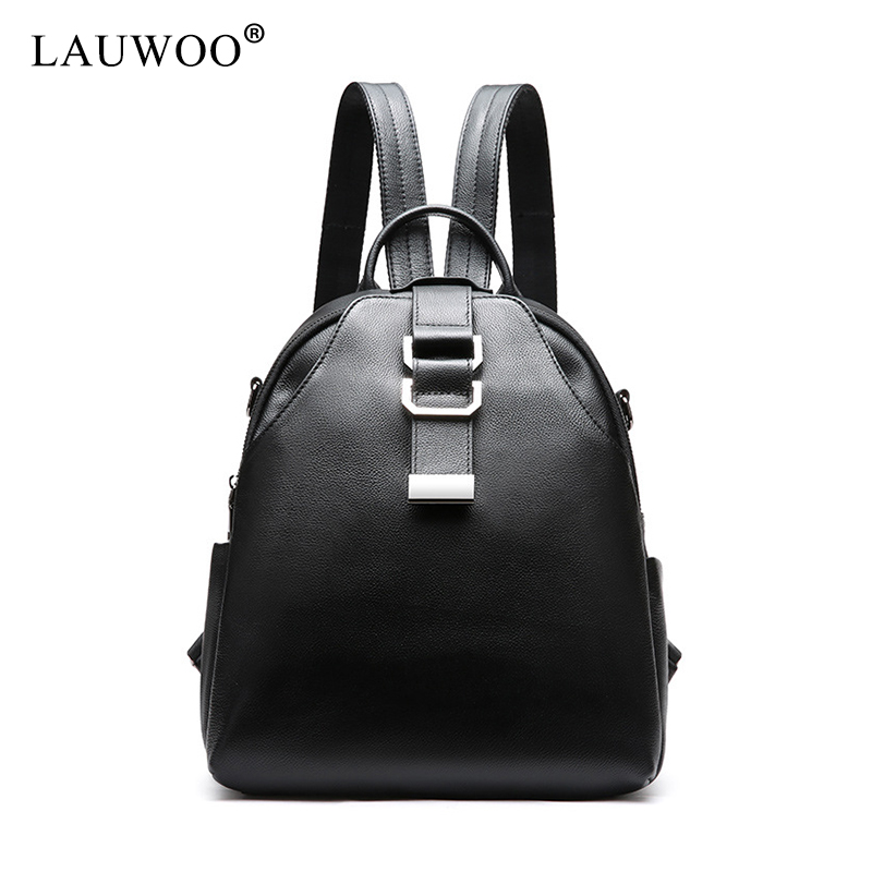 LAUWOO fashion Women Real cow leather backpacks for teenage girls female Casual backpacks large capacity Lady's shoulder bags wanu brand fashion women sheepskin leather backpacks for teenage girls female backpack large capacity shoulder bags travel bags