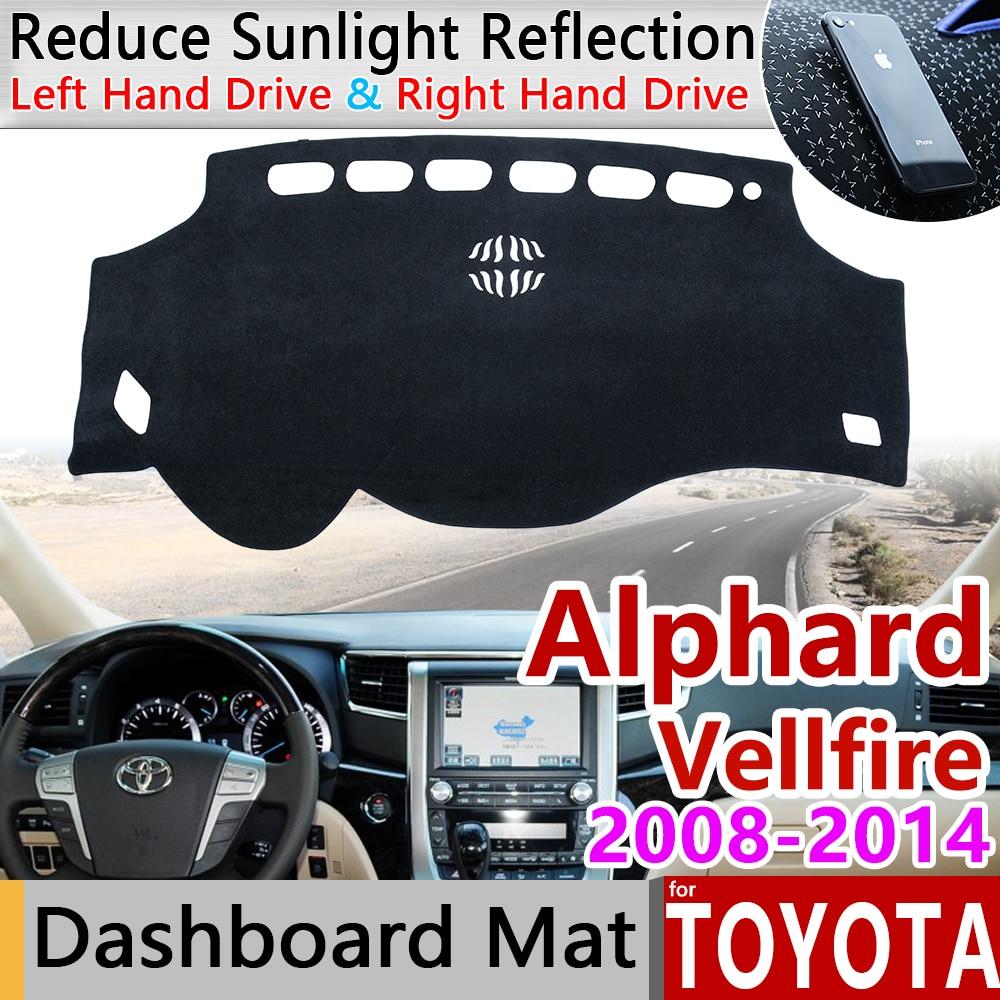 Otomobiller ve Motosikletler'ten Araba Çıkartmaları'de Toyota için Alphard Vellfire 20 AH20 2008 ~ 2014 Anti Kayma Mat Pano Dash Kapak Pad Güneşlik Dashmat Korumak halı Aksesuarları title=
