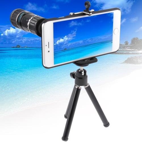 Para iphone 6 4.7 inch 12 x móvil teleobjetivo telescopio teleobjetivo zoom de la cámara lente de la foto para iphone6 i6 c1