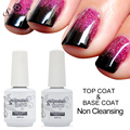 Saviland 2pcs Semi Permanent Glitter Nail Gel Polish Soak Off Top Base Coat Gel Lacquer Uv Led Gel Varnish 15ml
