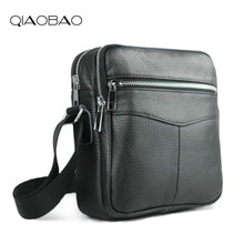 QIAOBAO Cowhide Leather Men Bags Hot Sale Male Small Messenger Bag Man Fashion Crossbody Shoulder Bag Men's Travel New Bags