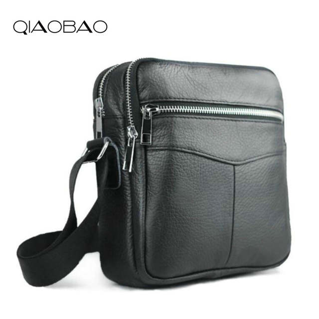 f9f54bec3af9 QIAOBAO Cowhide Leather Men Bags Hot Sale Male Small Messenger Bag Man  Fashion Crossbody Shoulder Bag Men s Travel New Bags-in Crossbody Bags from  Luggage ...