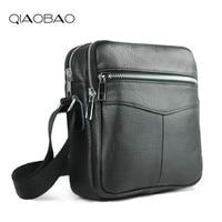 QIAOBAO Cowhide Leather Men Bags Hot Sale Male Small Messenger Bag Man Fashion Crossbody Shoulder Bag