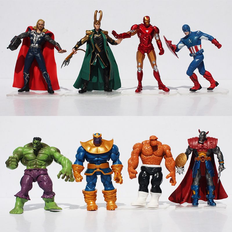 2set/lot Hulk Loki Thor Captain America Iron Man Batman Action Figure The Action Figures new hot 16 22cm avengers thor iron man hulk captain america movable action figure toys collection doll christmas gift with box