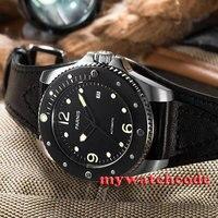 43 Mm Parnis Zwarte Wijzerplaat Saffier Glas Miyato 8215 Automatische Heren Polshorloge 427-in Mechanische Horloges van Horloges op