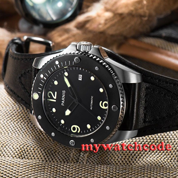 лучшая цена 43mm Parnis black dial Sapphire Glass miyato 8215 Automatic mens wrist Watch 427
