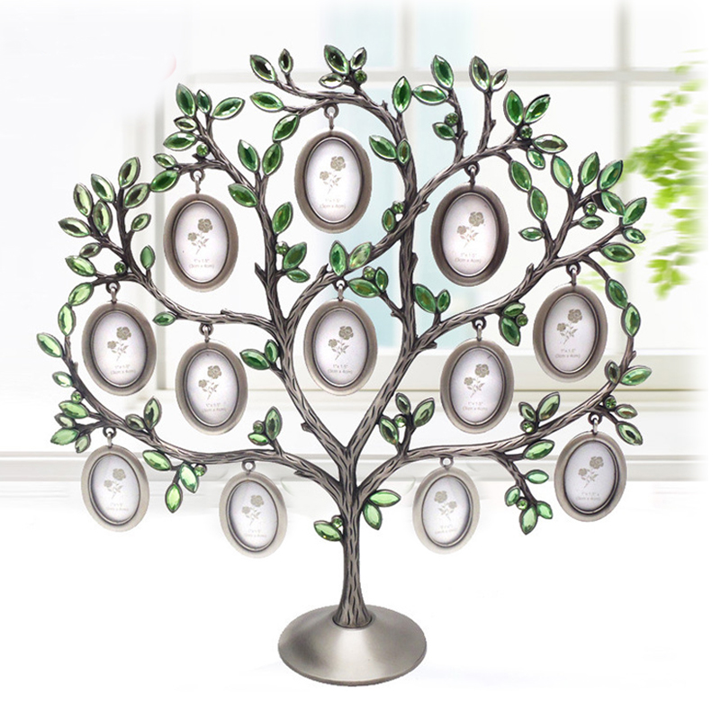 Fashion Family Tree Green Rhinestone Photo Frame Baby Birthday Gift DIY picture frame Metal Creative Gifts home decor Wholesale