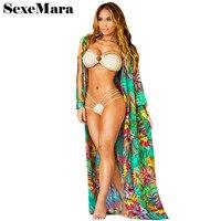 Sexy Chiffon Long Puff Sleeve Tunic Beach Blouse Floral Print Plus Size Boho Ethnic Top Women