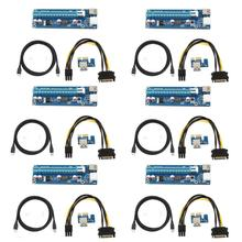 Mini PCI-E to PCI Express Extender Riser Card PCIE 1x to 16x Slot USB3.0 Data Cable SATA to 6Pin Power Supply for Bitcoin Mining 4 slots pci e 1 to 4 pci express 16x slot external riser card adapter board for btc miner mining