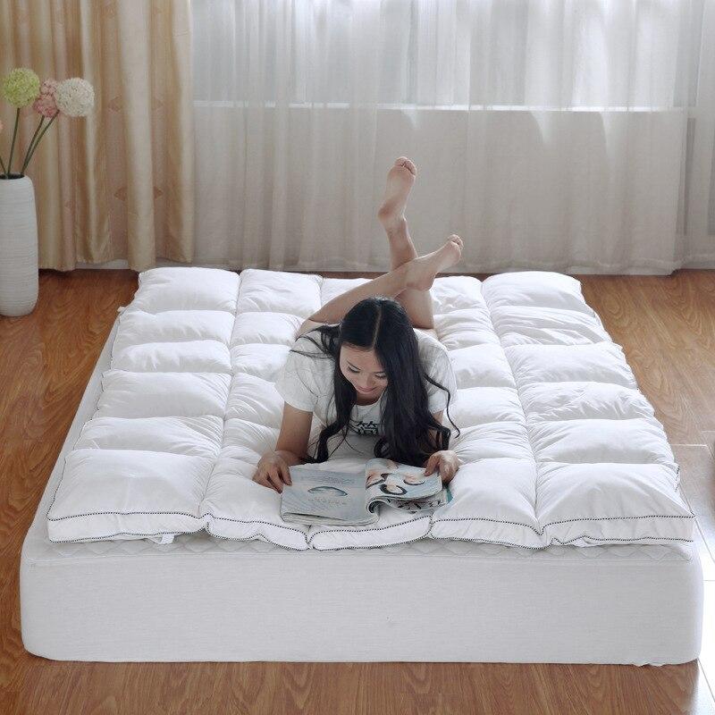⃝Plumas colchón grueso caliente plegable único o doble colchón