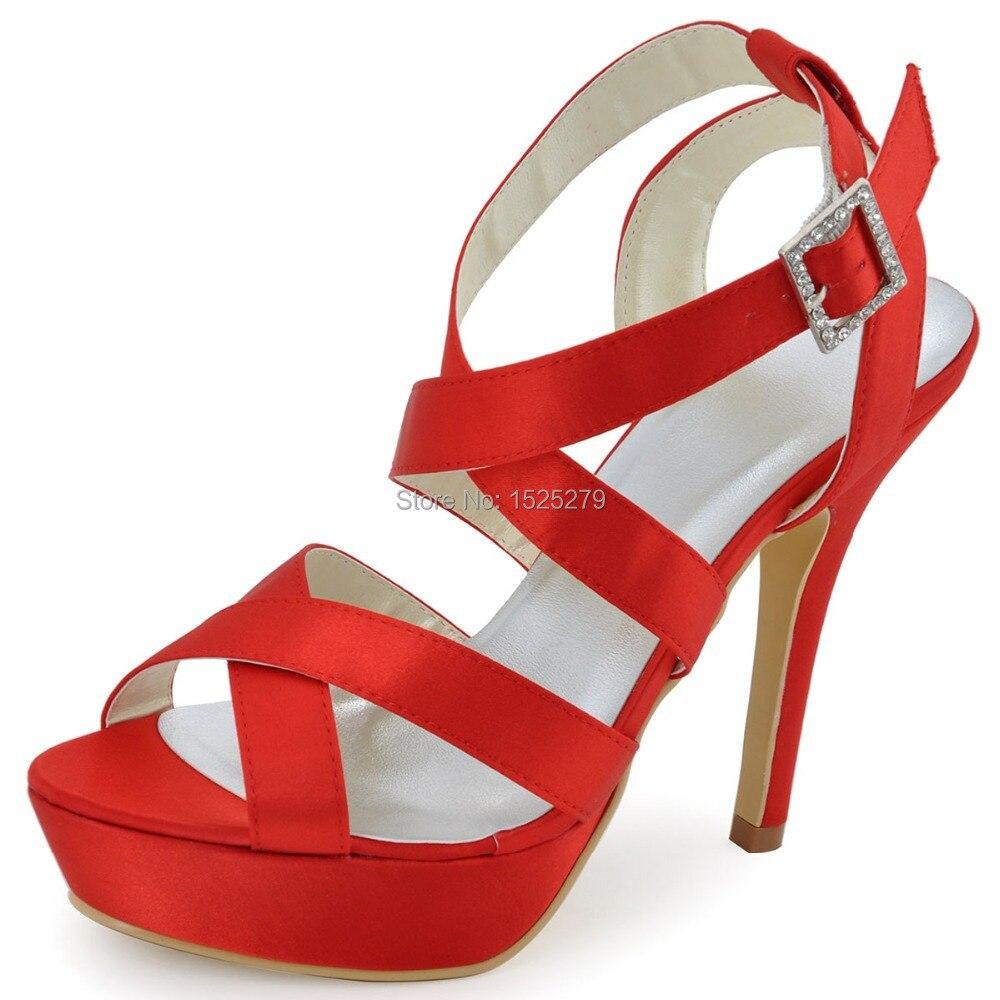 ФОТО EP2124-PF White Women Bridal Shoes Slingback Peep Toe Party Cross-straps High Heel Buckles Platforms Pleat Satin Wedding Sandals