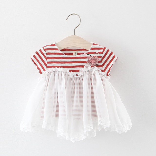 29699fe2821e 2019 Baby girls summer dress clothing Kids new cute short sleeve striped  cotton mesh dress for girls 1-2 Years !