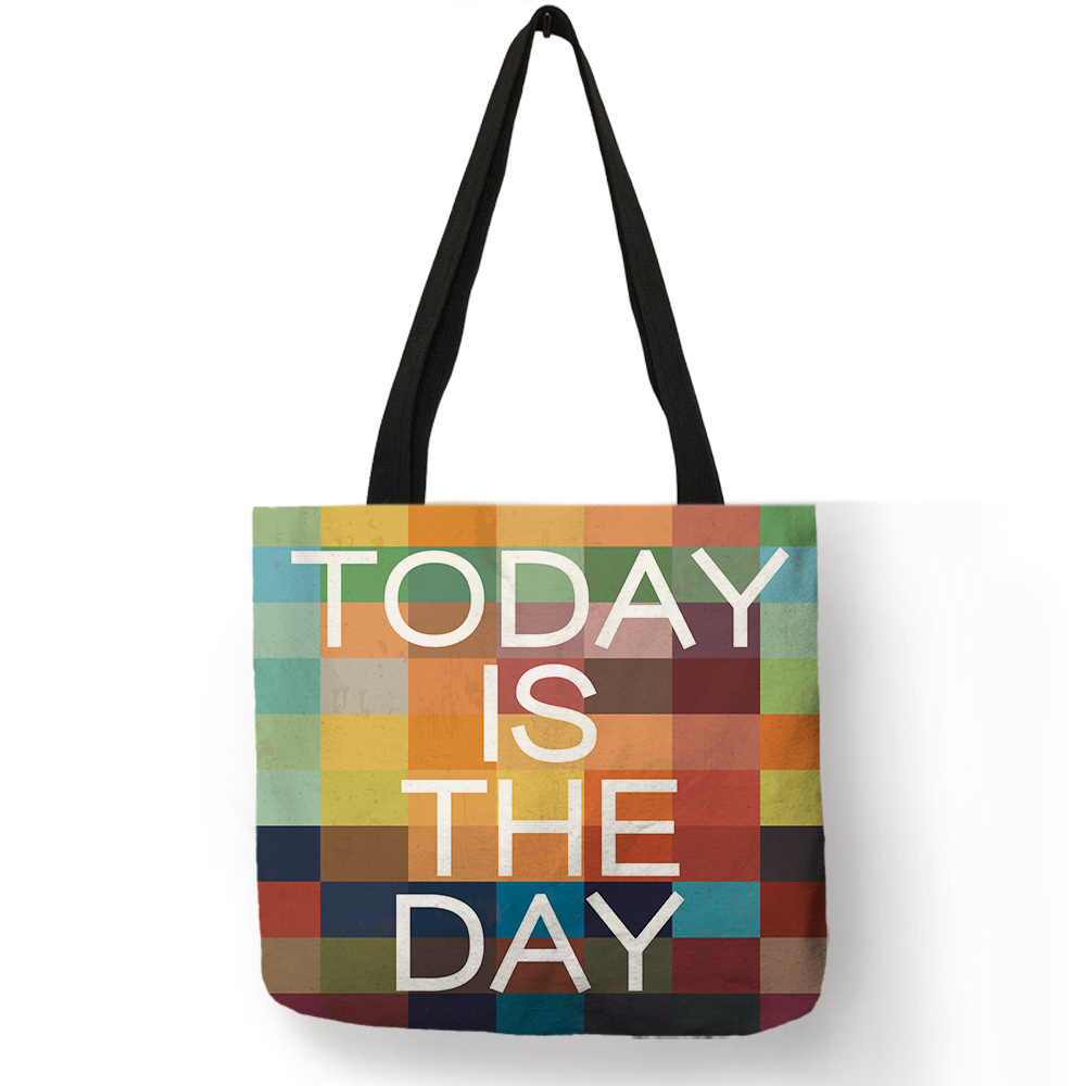 Ladies Girls Colorful Tote Bag Heart Number Letter Geometry Print Shopping Handbags Fashion Recycle Teenager Beach Shoulder Bags