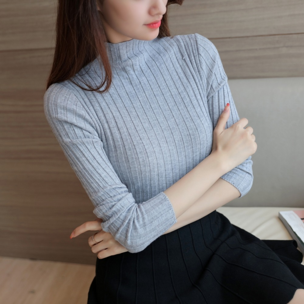 Tee Shirt Femme 2017 Autumn Winter Turtleneck Tshirt Women Knitted Super Stretch Women Clothes Top Fashion Feminina blusa