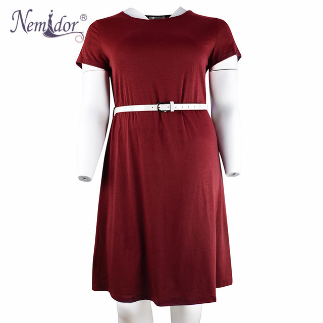 Women Summer Vintage Short Sleeve 50s Party Belted A-line Dress Stretchy Midi Plus Size 7XL 8XL With Pockets 4