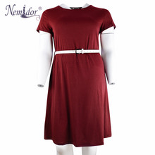 Nemidor Vintage Short Sleeve Belted Dress