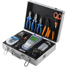 Fiber Optic Tool Kit with Fiber Cleaver and Optical Power Meter 10km Visual Fault Locator wire stripper toolbox