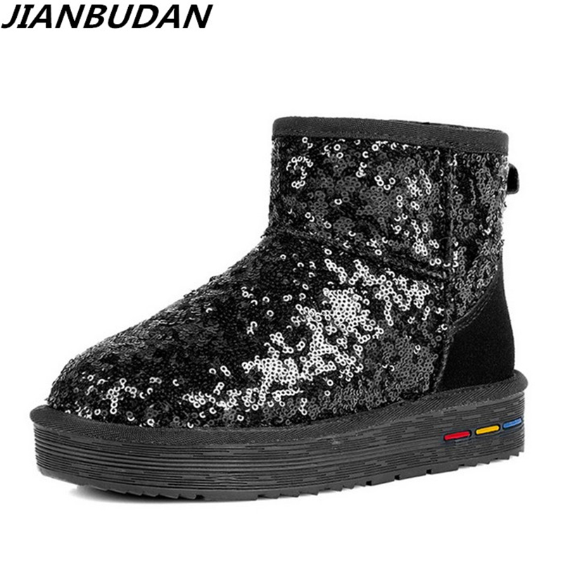 JIANBUDAN Brand fashion winter women boots sequins leisure warm snow boots high quality leather Anti-skid fur boots 35-40 ...