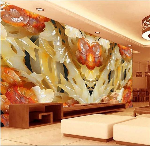 3d room wallpaper custom mural non woven wall sticker 3d Jade ...