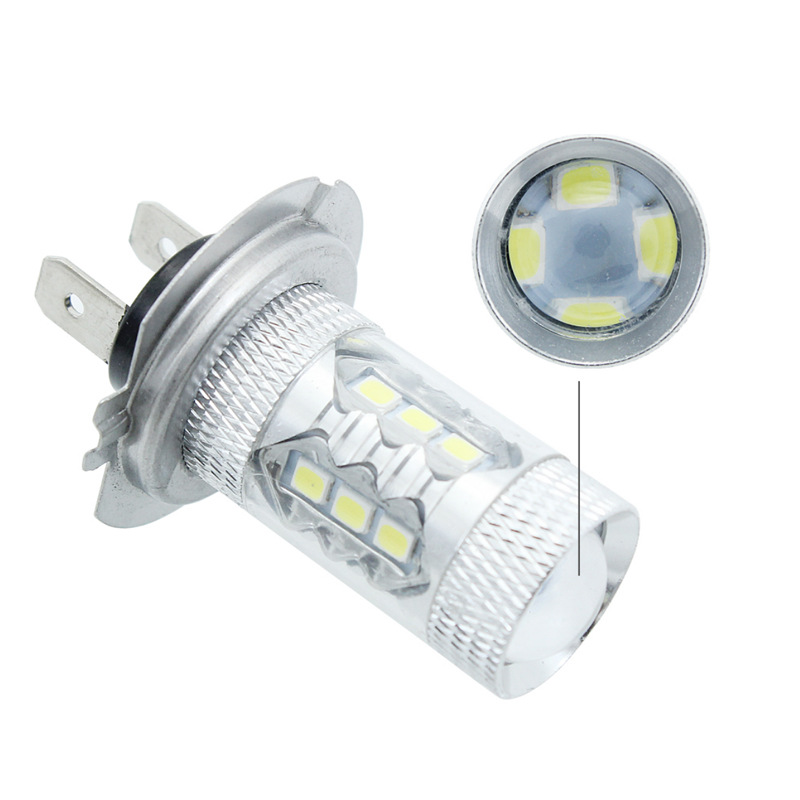 JanDeNing 2PCS H7 80W <font><b>16</b></font>-SMD 2835 Car <font><b>LED</b></font> <font><b>Fog</b></font> Light Bulbs daytime running lights Driving <font><b>Lamp</b></font> Bulbs 6000K image
