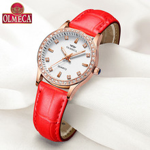 Fashion Relogio Feminino Top Brand Luxury OLMECA Women Watches Water Resistant Wrist Watch Rhinestone Reloj Mujer Leather Band
