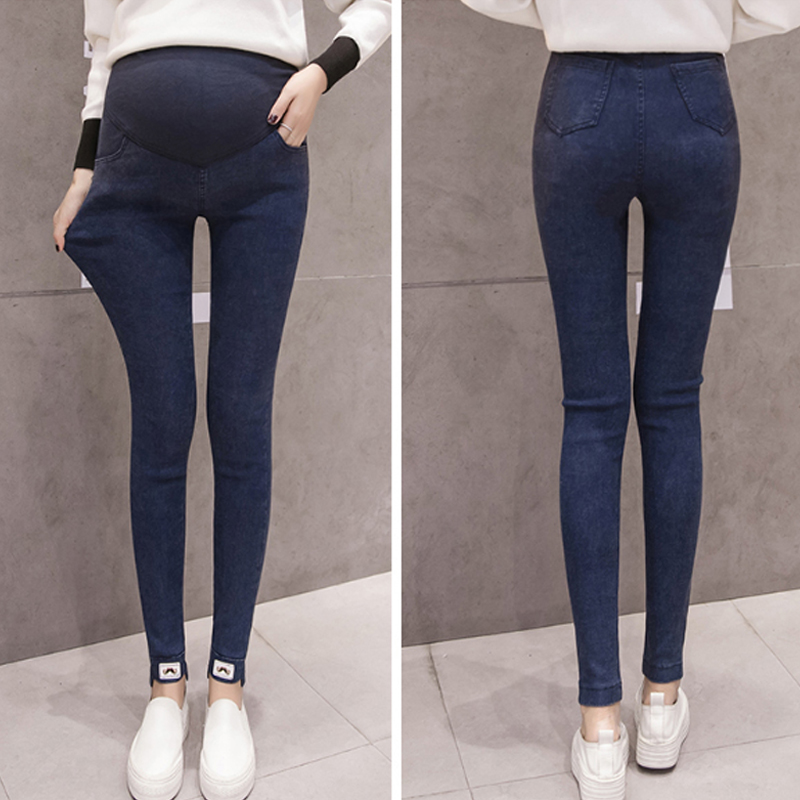 Winter Velet Maternity Jeans Clothes Warm Thickened Pregnancy Wear Pants Black Blue Belly Support Denim Jeans For Pregnant Women