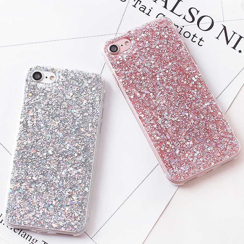 Silicone bling glitter cristal lantejoulas caso de telefone para huawei p inteligente p20 pro p10 p8 p9 lite 2017 nova 2 s 2i honra 8 9 10 casos