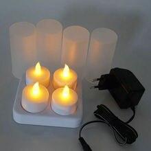 4 서리로 덥은 충전식 flameless led tealight 촛불/difused votives 램프 xmas 웨딩 파티 110 v/220 v 옵션 앰버 세트