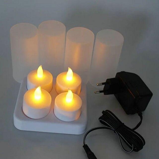 Набор из 4 матовых перезаряжаемых беспламенных светодиодных свечей для свечей с Беспламенной лампой для рождественской свадебной вечеринки 110В/220В на выбор янтарный
