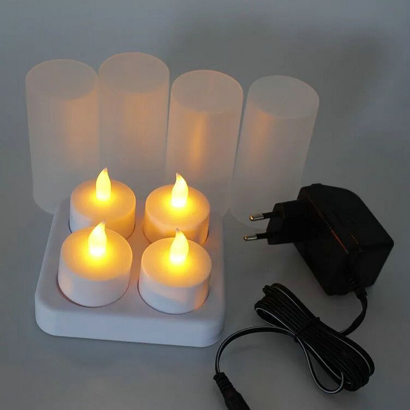 Set of 4 Frosted Rechargeable Flameless Led TeaLight Candle w/Difused Votives lamp Xmas wedding party 110V/220V optional AMBERCandles   -
