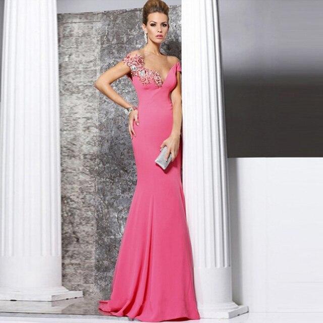 Rosa noche De la sirena vestidos apliques rebordear vestidos fiesta ...