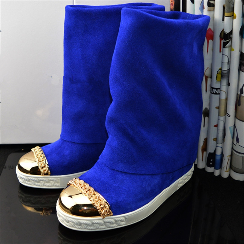 Suede Height Increasing Female Shoes Bota Feminina Platform Wedges Women's Boots Mid-Calf Women Spring Autumn Boots stylish women s mid calf boots with suede and platform design