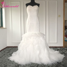 Real Photos Mermaid Gorgeous Wedding Dresses Sweetheart Tiered Ruffles Tail Unique Bride Dresses Vestido De Noiva