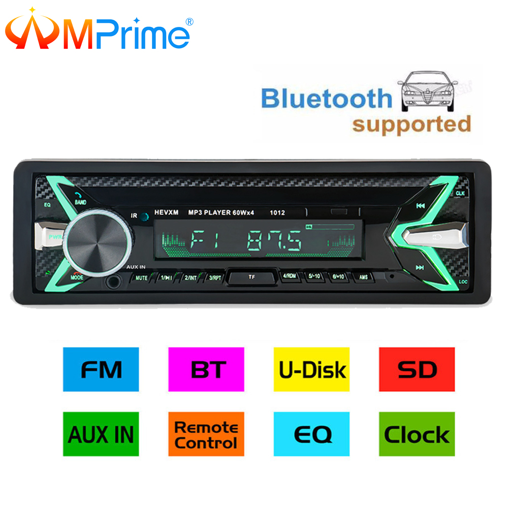 AMPrime Car Radio Stereo Player Bluetooth Phone AUX-IN MP3 FM/USB/1 Din/remote control 12V Car Audio Auto 2018 New Sale все цены