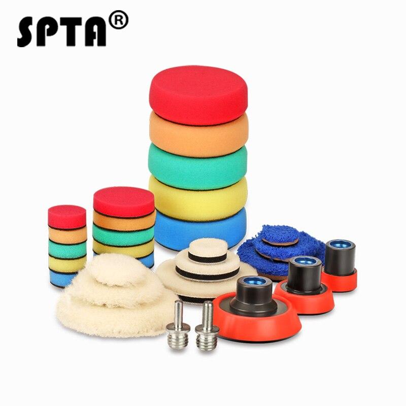 SPTA 29Pcs Car Polisher Polishing Waxing Buffing Goods For Car Care Headlight Polish Set Auto Woolen Sponge Pads Kit M14 Thread