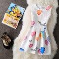 2017 Новая Мода Лето Стиль воздушный шар Печати Женщины Dress Вечера Партии Элегантный Vintage Summer Dress Белый Vestidos Де Феста Халат