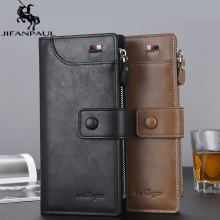 Длинный высококачественный мужской кошелек на молнии, кошелек, Европейская и американская мода, Классический многофункциональный кошелек подарок