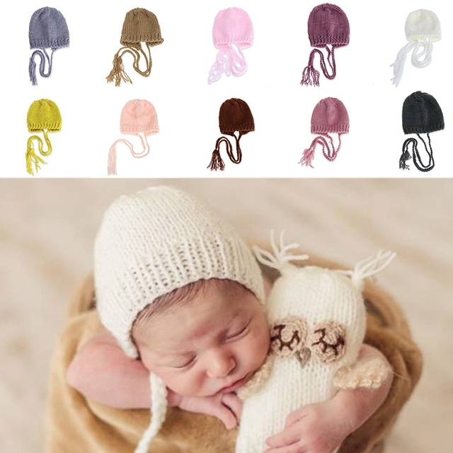 e253bed44 Baby Photography Props Handcraft Baby hand Knit Bonnet Newborn Baby Girls  Boys Crochet Knit Costume Photography Prop Outfits Hat