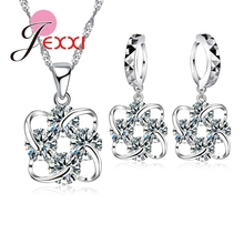 Jemmin Claccis African AAA Crystal Flower Pendant Necklace Earrings Sets 925 Sterling Silver Wedding Bijoux Collier