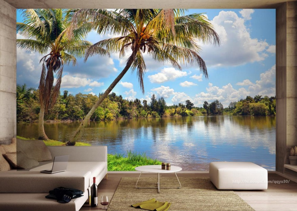 Lake Scenery 3D Wallpaper Mural For Living Room Bedroom Kitchen 3d Background Wall free shipping swan lake blue 3d stereo background wall bedroom living room mural 3d high quality office wallpaper