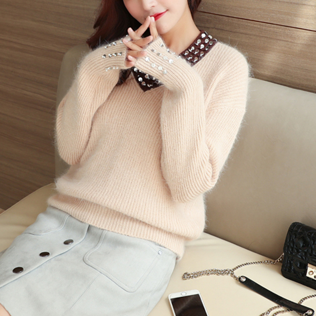 2c9e0f8a5806 6537 V collar sweater Angora sweater 71 sequins-in Cardigans from ...