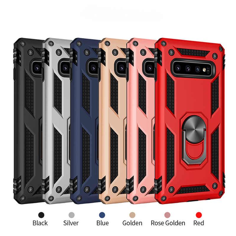 H & UM Anel Magnético de Luxo Case Para Samsung Galaxy S10 S9 S8 Plus Nota Tampa Do Telefone 8 9 A7 a6 A8 A9 J4 J6 Plus 2018 Caso À Prova de Choque