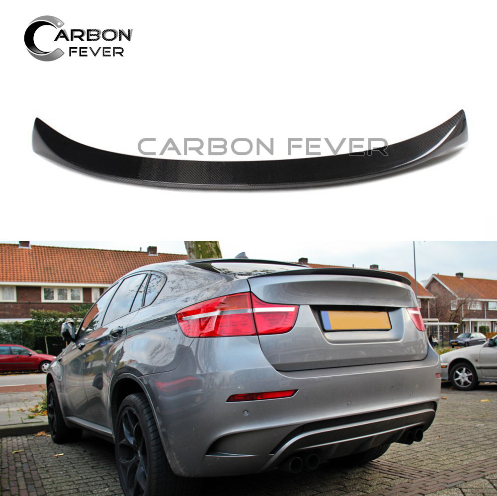 MP Style Carbon Fiber Rear Spoiler Wing For BMW X6 E71 5-door SUV Trunk Tail Lip 2008 - 2014 carbon fiber car rear bumper extension lip spoiler diffuser for bmw x6 e71 e72 2008 2014 xdrive 35i 50i black frp