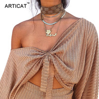Articat Sexy Off Shoulder T Shirt Women Crop Top V Neck Lantern Sleeve Loose Shirt Women